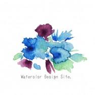 水彩ブルーフラワー素材