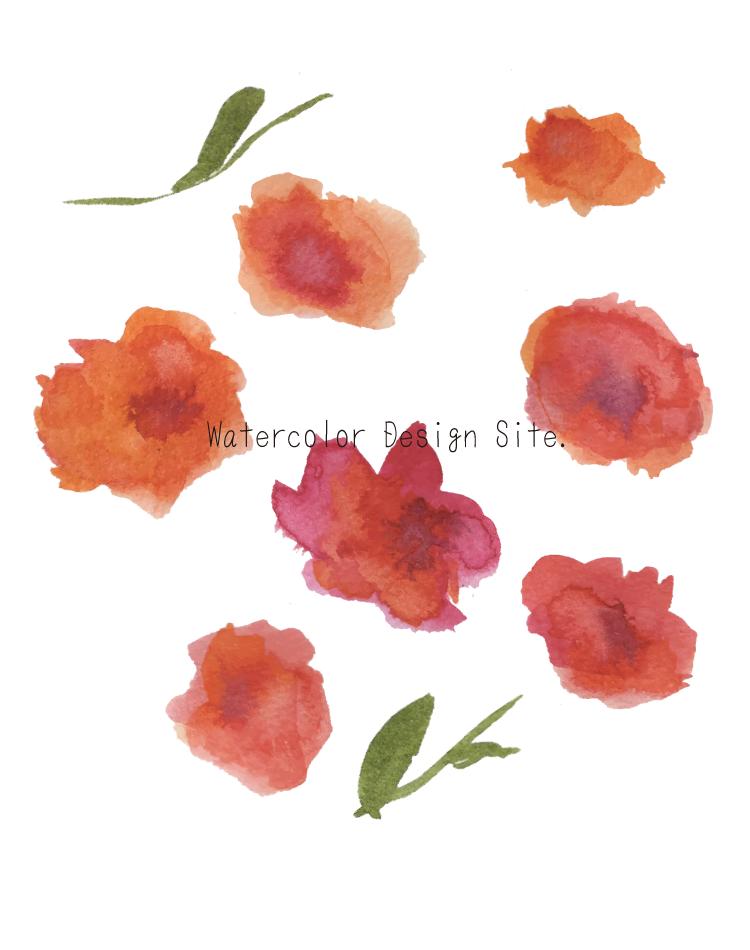 水彩ベクター素材:大きな南国風オレンジ花