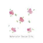 水彩ピンク小花パーツ#02