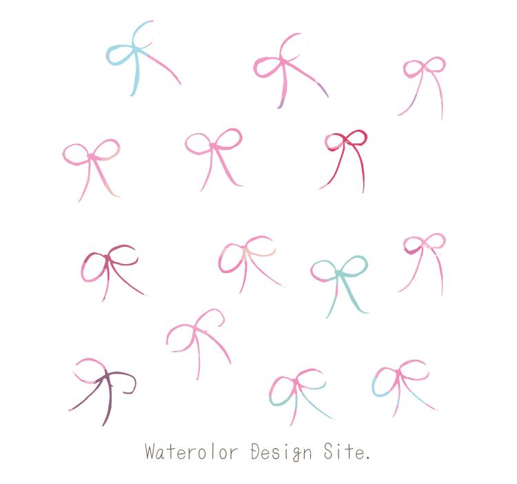 細い手描きりぼんベクター素材 Watercolor Design Site