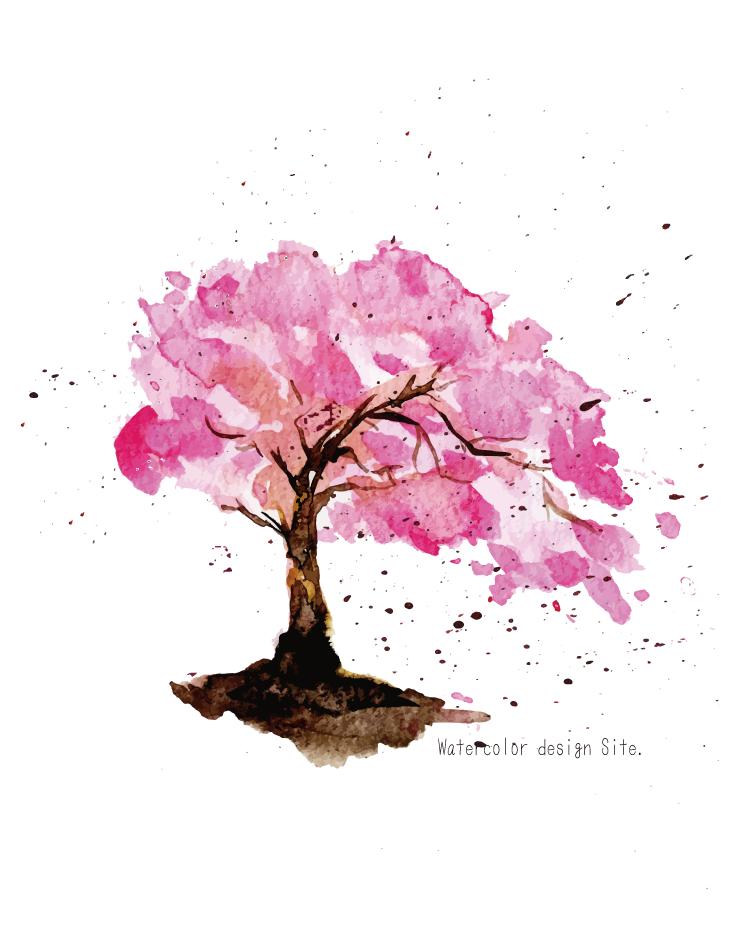 水彩滲んだ桜素材