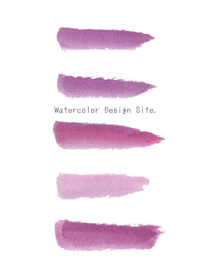 水彩ピンク下線5点セットフリー素材