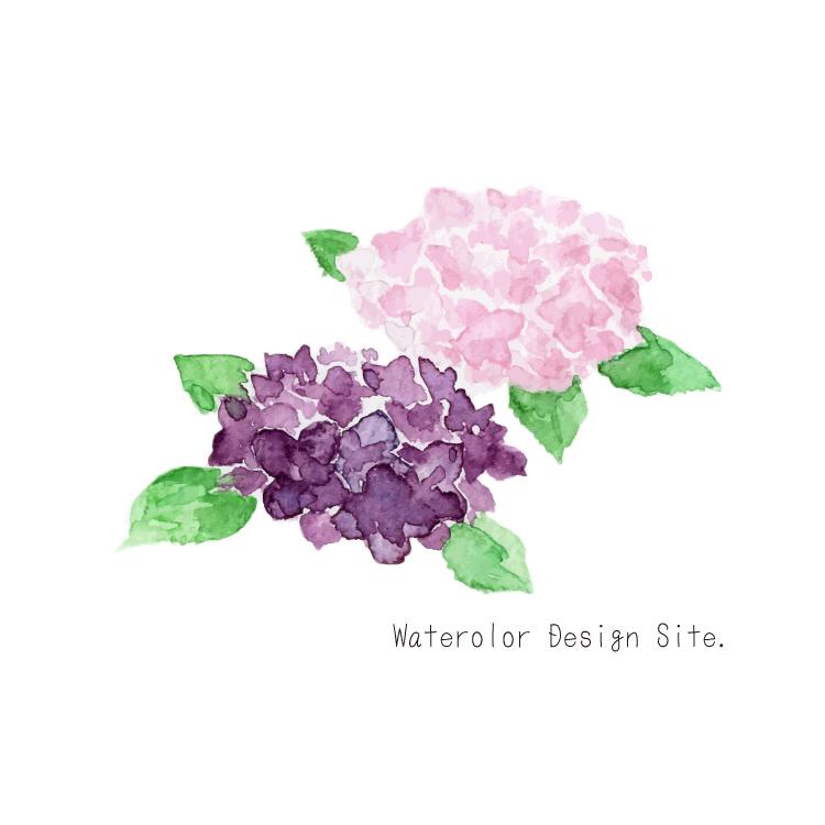 季節の花イラストフリー素材・あじさい