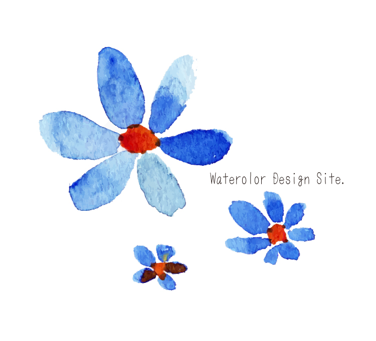 青い花パーツ Watercolor Design Site