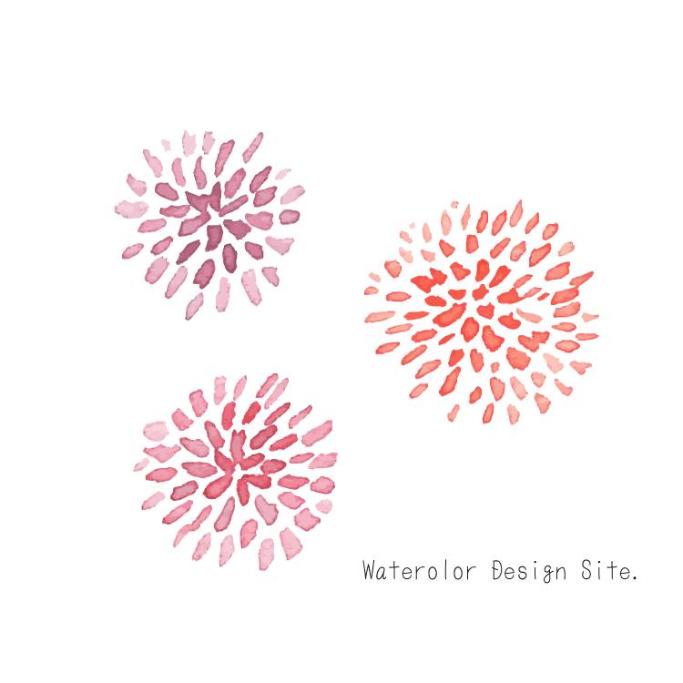 細かい花びらの花3つフリー素材