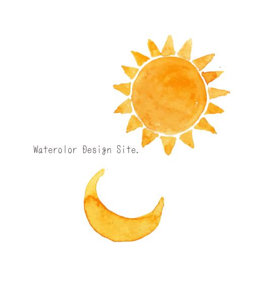 水彩月と太陽イラスト
