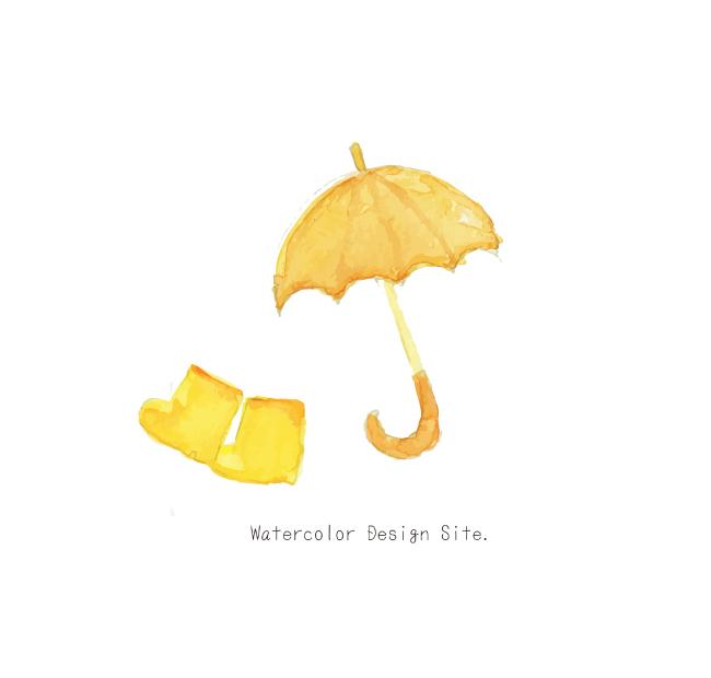 水彩イラスト「長靴と傘」