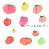 水彩小さいトマトイラスト
