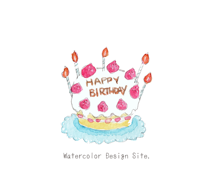 バースデーケーキ Watercolor Design Site