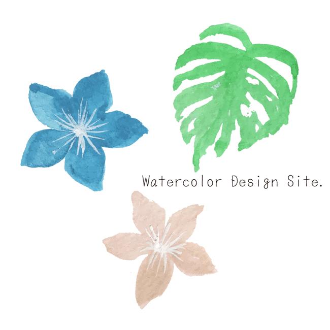 南国風パーツイラスト Watercolor Design Site