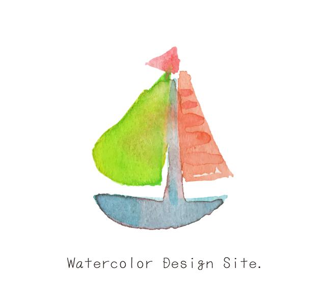 水彩ヨットイラスト