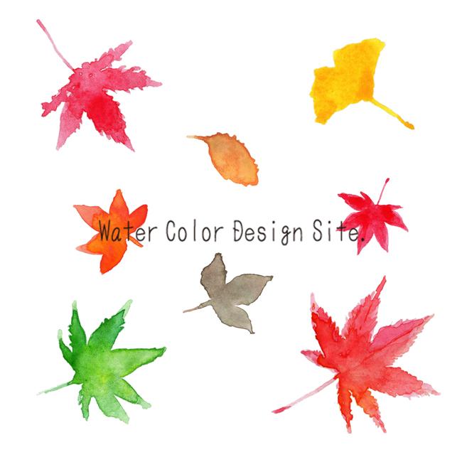 楓とイチョウ落ち葉水彩イラスト