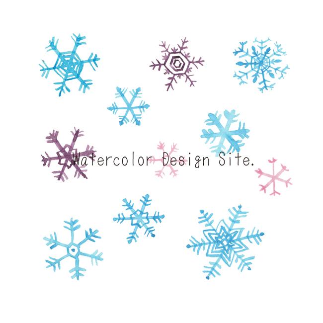 雪の結晶水彩イラスト