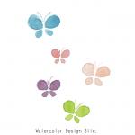 蝶々水彩イラストパーツ