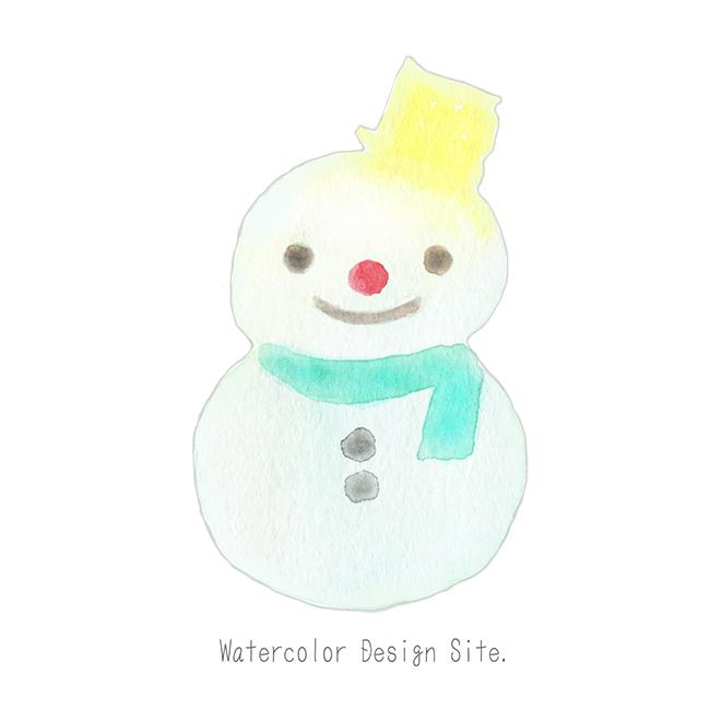 水彩雪だるまイラスト