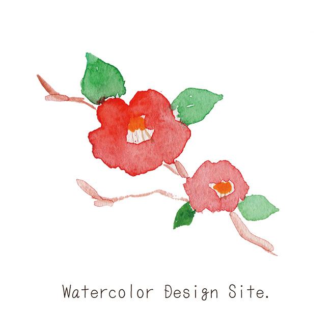 水彩椿イラスト