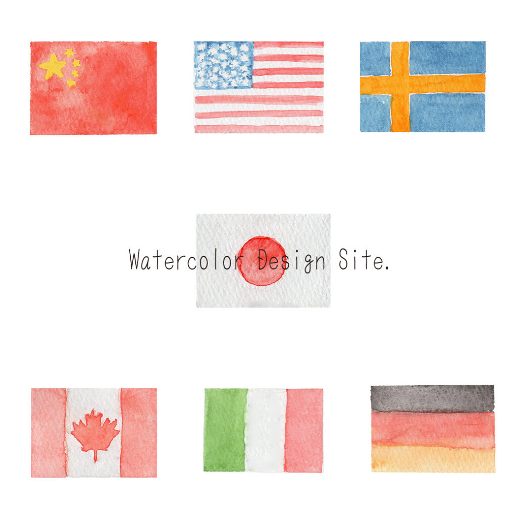 万国旗イラスト水彩