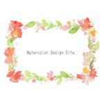 水彩イラスト「大きな花のフレーム」